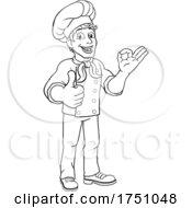 Poster, Art Print Of Chef Cook Baker Man Cartoon Giving Thumbs Up