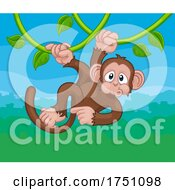Poster, Art Print Of Monkey Singing On Jungle Vines Pointing Cartoon