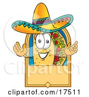 Clipart Picture Of A Taco Mascot Cartoon Character On A Blank Tan Label Logo Or Sign by Toons4Biz