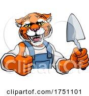 Tiger Bricklayer Builder Holding Trowel Tool