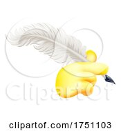 Poster, Art Print Of Quill Feather Ink Pen Hand Emoji Cartoon Icon