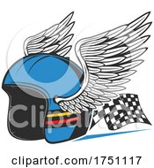 Motorcycle Helmet With Wings And Racing Flag by Vector Tradition SM