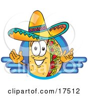 Clipart Picture Of A Taco Mascot Cartoon Character On A Blank Blue Logo by Toons4Biz
