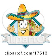 Clipart Picture Of A Taco Mascot Cartoon Character Over A Blank White Banner On A Label by Toons4Biz
