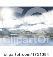 Poster, Art Print Of 3d Mountain And Lake Landscape With Low Clouds