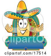 Clipart Picture Of A Taco Mascot Cartoon Character Over A Blank Banner by Toons4Biz