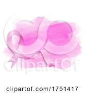 Breast Cancer Awareness Ribbon Over Watercolor