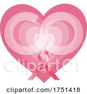 Breast Cancer Awareness Ribbon Over A Heart