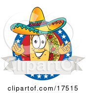 Clipart Picture Of A Taco Mascot Cartoon Character Over A Blank White Banner On An American Themed Business Logo by Toons4Biz