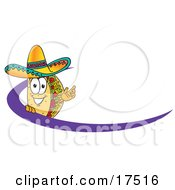 Clipart Picture Of A Taco Mascot Cartoon Character Waving And Standing Behind A Purple Dash On An Employee Nametag Or Business Logo by Toons4Biz