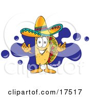 Clipart Picture Of A Taco Mascot Cartoon Character Standing In Front Of A Blue Paint Splatter On A Business Logo by Toons4Biz