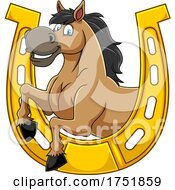Horse Mascot In A Horseshoe by Hit Toon