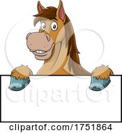 Horse Mascot Over A Sign by Hit Toon