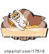 Clipart Picture Of A Tooth Mascot Cartoon Character On A Blank Tan And Brown Label by Toons4Biz