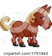 Poster, Art Print Of Horse Pixel Art Farm Animal Video Game Cartoon