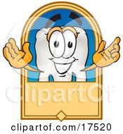 Clipart Picture Of A Tooth Mascot Cartoon Character On A Blank Tan Label by Toons4Biz
