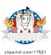 Clipart Picture Of A Tooth Mascot Cartoon Character On An American Business Label by Toons4Biz