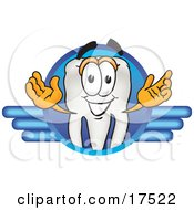 Clipart Picture Of A Tooth Mascot Cartoon Character On A Blue Logo