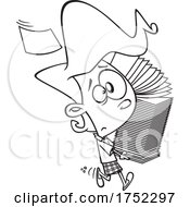 Poster, Art Print Of Cartoon Black And White Stressed Girl Or Woman Carrying A Stack Of Papers