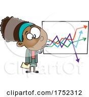 Cartoon Business Woman Looking At A Dropping Chart