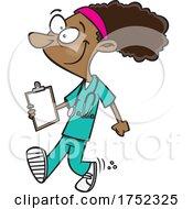 Cartoon Happy Nurse Walking