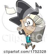 Poster, Art Print Of Cartoon Stressed Girl Or Woman Carrying A Stack Of Papers