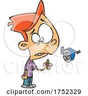 Cartoon Boy Holding A Pencil Stub After Using A Sharpener