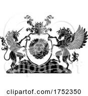 Poster, Art Print Of Coat Of Arms Pegasus Unicorn Crest Lion Shield