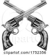 Cross Gun Revolver Western Cowboy Pistols Woodcut