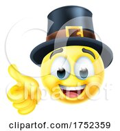 Poster, Art Print Of Thanksgiving Pilgrim Emoticon Emoji Cartoon Icon