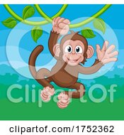 Poster, Art Print Of Monkey Singing On Jungle Vines Waving Cartoon
