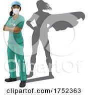 Superhero Nurse Doctor Woman Super Hero Shadow by AtStockIllustration