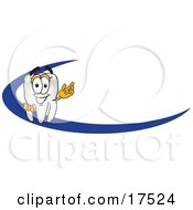Tooth Mascot Cartoon Character Behind A Dash On An Employee Nametag Or Business Logo