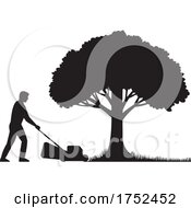 Silhouette Of A Gardener With Lawnmower Or Lawn Mower Mowing Grass Lawn With Oak Tree Stencil Illustration