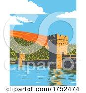 Ladybower And Derwent Reservoirs Within The Derwent Valley Peak District National Park Derbyshire England UK Art Deco WPA Poster Art