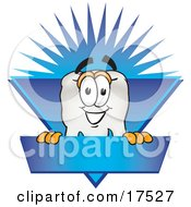 Clipart Picture Of A Tooth Mascot Cartoon Character On A Blank Blue Business Label by Toons4Biz