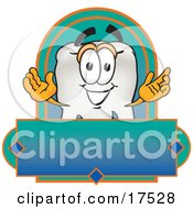 Clipart Picture Of A Tooth Mascot Cartoon Character On A Blank Label