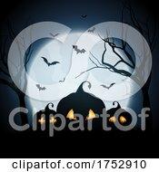 Halloween Background With Spooky Pumpkins