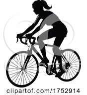 Poster, Art Print Of Woman Bike Cyclist Riding Bicycle Silhouette