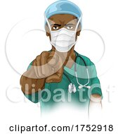 Nurse Doctor In PPE Mask Pointing Needs You by AtStockIllustration