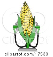 Royalty Free Clipart Of A Corn Ethanol Fueling Station With Two Pumps
