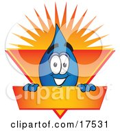Water Drop Mascot Cartoon Character On An Orange And Yellow Label