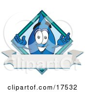 Water Drop Mascot Cartoon Character Over A Blank Banner On A Logo