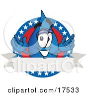 Water Drop Mascot Cartoon Character On An American Themed Logo