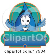 Water Drop Mascot Cartoon Character On A Blank Label