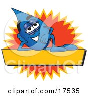 Water Drop Mascot Cartoon Character Reclining Over A Yellow Banner With An Orange Burst