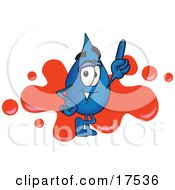 Water Drop Mascot Cartoon Character Pointing Up And Standing In Front Of A Red Paint Splatter On A Business Logo