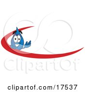 Water Drop Mascot Cartoon Character With A Red Dash On An Employee Nametag Or Business Logo
