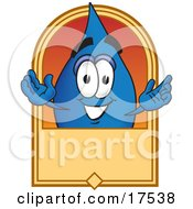 Water Drop Mascot Cartoon Character On A Blank Tan Label Logo Or Sign