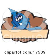 Water Drop Mascot Cartoon Character Reclining On A Blank Tan And Brown Label